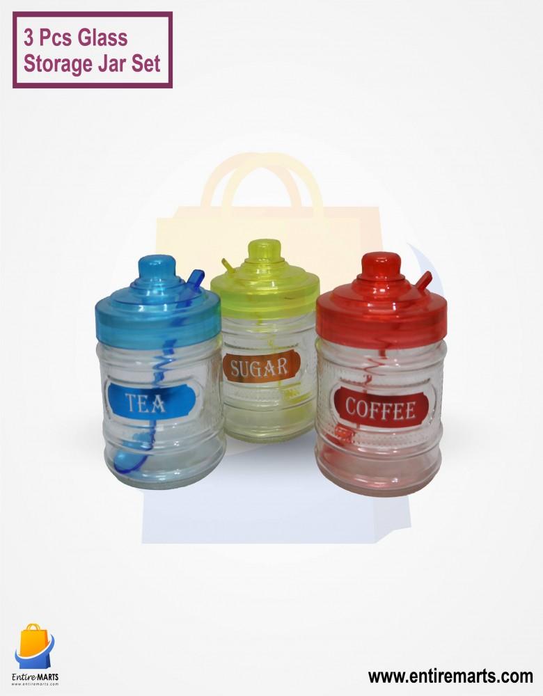 3 Pcs Glass Storage Jar Set